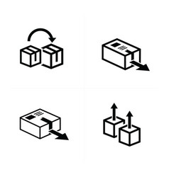 Box and arrow icons set 4 item vector