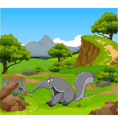 funny anteater cartoon in the jungle vector image