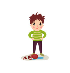 Happy naughty boy with crazy hair flat character vector