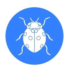 Ladybug icon in black style isolated on white vector image