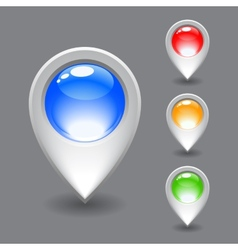 Set of white map pointer icon vector image vector image