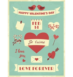 Valentines Day Retro Collection vector image