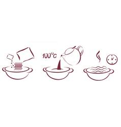 fast soop schema of cooking vector image vector image