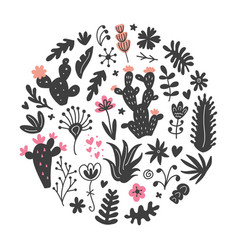 hand drawn wild cactus flowers tropical plants vector image vector image