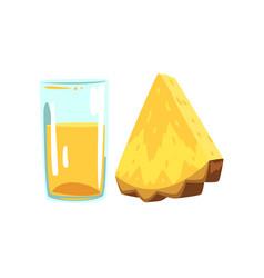 pineapple fruit juice glass of natural vegetarian vector image