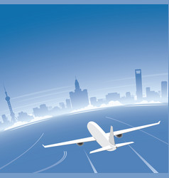 shanghai skyline flight destination vector image