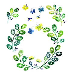 Watercolor floral design elements vector image vector image