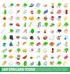 100 england icons set isometric 3d style vector