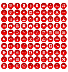 100 student icons set red vector