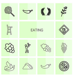 14 eating icons vector