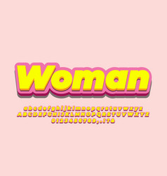 3d soft yellow and pink text effect or font vector