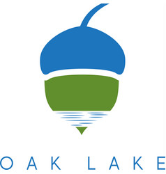 Acorn and lake icon vector