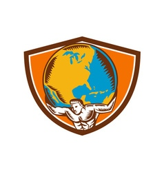 Atlas Carrying Globe Crest Woodcut vector image