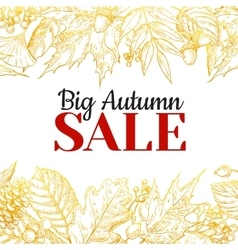 Autumn sale gold banner with leaves vector