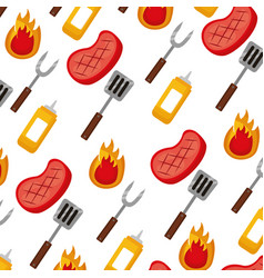 barbecue meat fork spatula mustard background vector image