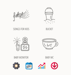 Bawc video monitoring and songs icons vector