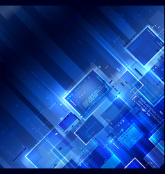 blue dark tech background vector image