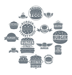 burger logo icons set simple style vector image