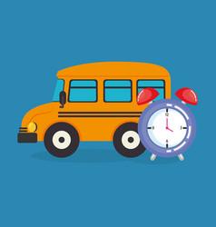 Bus with alarm clock vector