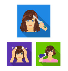 Care of hair and face flat icons in set collection vector