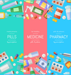 cartoon pharmacy or medicines vertical vector image