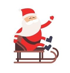 Cartoon Santa Claus driver sled delivery vector