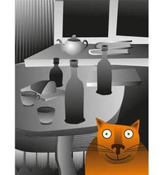 Cat and table vector