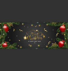 christmas and new year card pine tree ornaments vector image