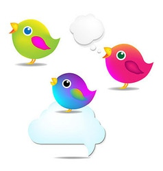 Color Birds Set With Speech Bubble vector image