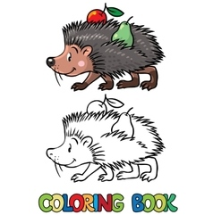 Coloring book of little funny hedgehog vector image