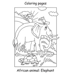 coloring elephant vector image