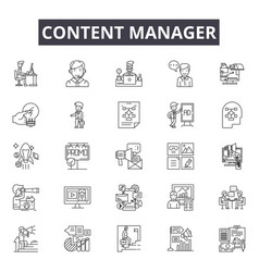 content manager line icons signs set vector image