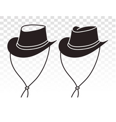 Cowboy hat or bullhide hats with strap strapped vector