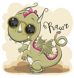 Cute dragon with sun glasses vector