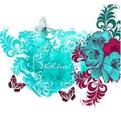 Cute floral background with watercolor spot vector