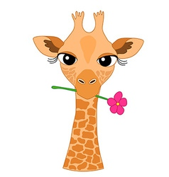 Cute Hand-drawn Cartoon Giraffe Holding a Flower vector image