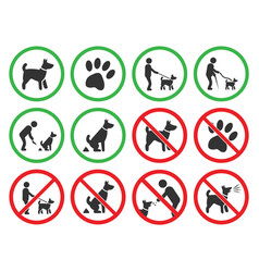 dog friendly and dog restriction signs dog vector image