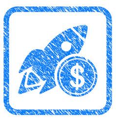 Dollar rocket framed stamp vector