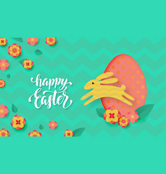 easter card with cute color paper cut egg vector image