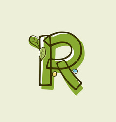 Eco style letter r logo hand-drawn with a marker vector