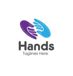 Family hands care logo vector