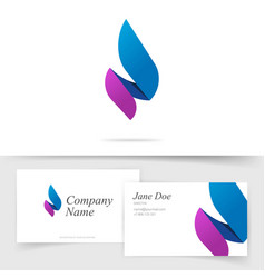 flame candle logo as abstract spear blue violet vector image