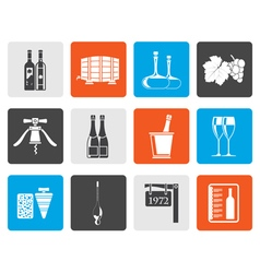 Flat Wine and drink Icons vector