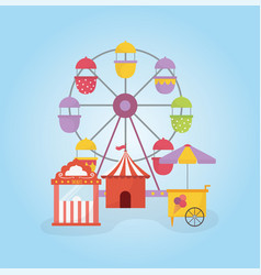 fun fair carnival ferris wheel tent ticket booth vector image