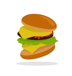 Gamburger Isolated Hamburger with Meat Junk Food vector