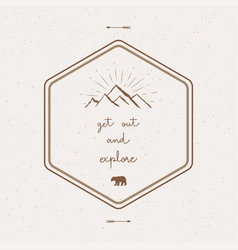get out and explore hand lettering with abstract vector image