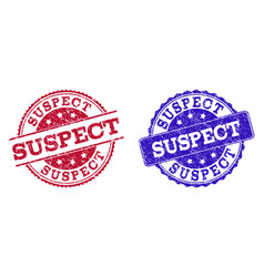 Grunge scratched suspect seal stamps vector