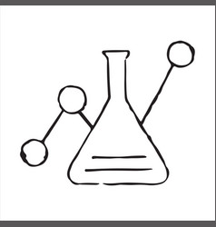 hand drawn flask chemical reaction doodle icon vector image