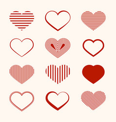 heart icon flat design hearts set isolated on vector image