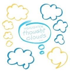 Highlighter Thought Clouds Bubbles Design Elements vector image
